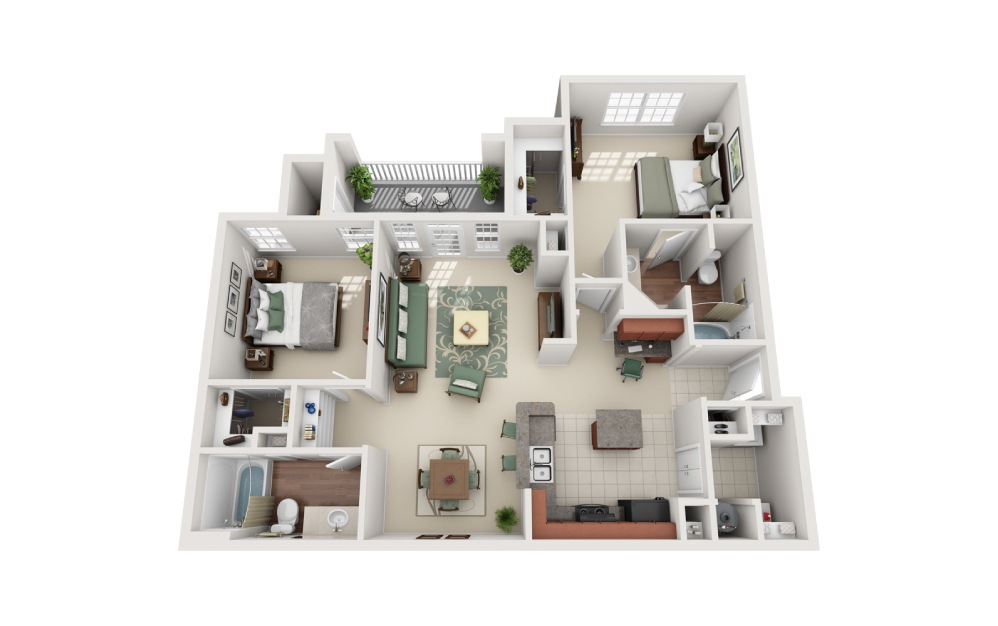 2 bedroom 2 bath 1232 sq.ft.