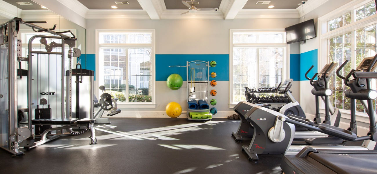 Fitness center with machine weights, treadmills and ellipticals